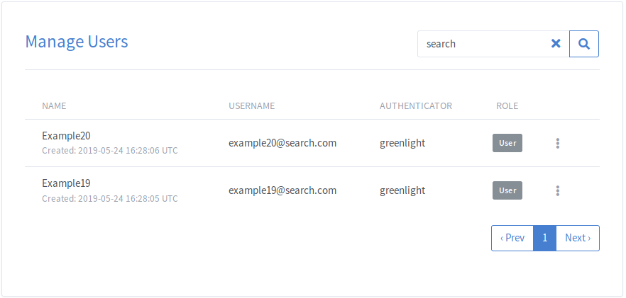 Greenlight Administrator Manage Users Search