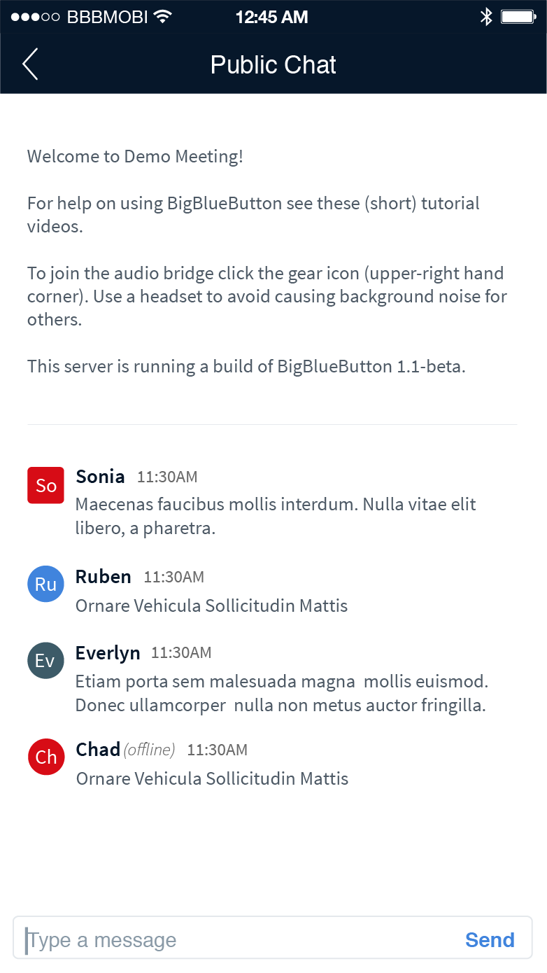 BigBlueButton Mobile Public Chat
